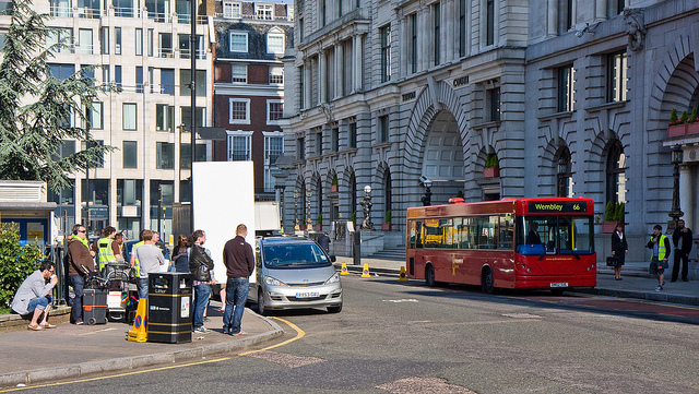 Filming in Finsbury Square