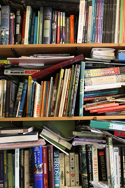 Behind me when I work, the Home Library (or at least a part of it).