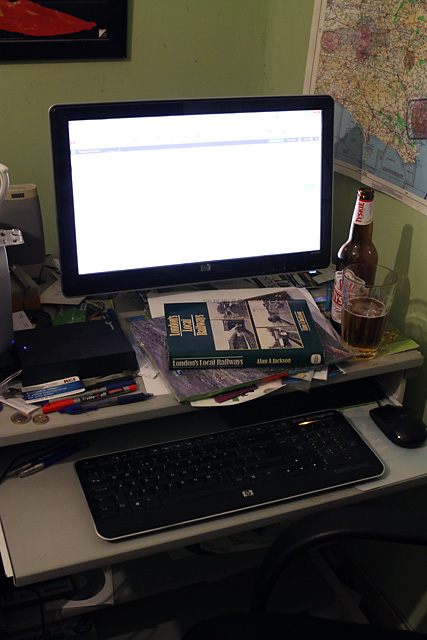 The Writers Desk complete with thought juice and London's Local Railways fished out of the home library as a result of a comment from Kate Shrewsday :-)