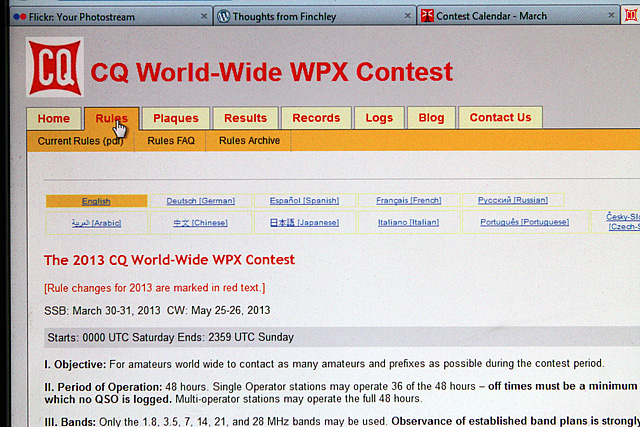 The CQWW WPX internet page outlining the rules.