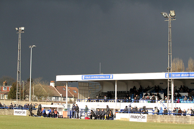 The Abrahams Stadium on a wintry afternoon.