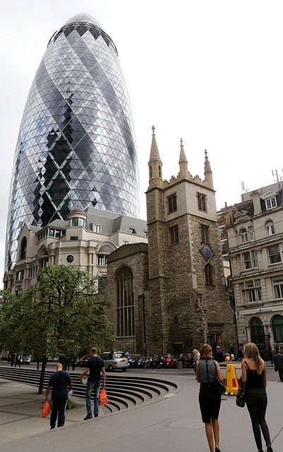 30 St Mary Axe - Designed by Sir Norman Foster - with St Andrew Undershaft in the foreground