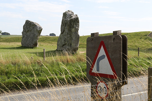 The Gate Stones and a Modern Road Sign at Avebury.