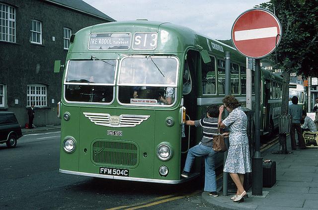 Passengers boarding a Bristol MW6G in Aberystwyth in 1976.
