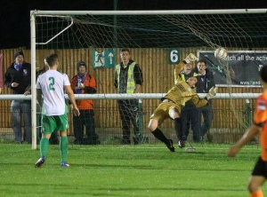 Ahmet heads past the Waders keeper in a period of Wingate & Finchley ascendancy.