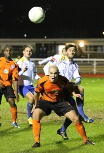 Mark Henry and Joe O'Brien - both have played together at Wingate & Finchley and at Enfield Town though this time they were on opposing sides.