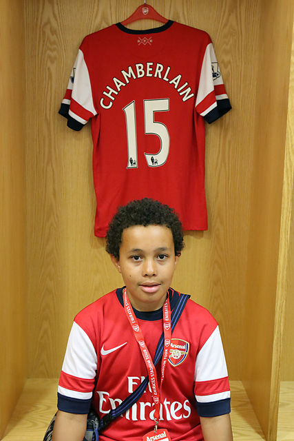 Alasdair and his favourite player's shirt in the Arsenal Changing Room