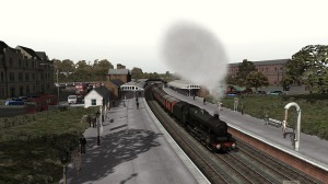 45586 'Mysore' accelerates a partially fitted freight out of Dumfries