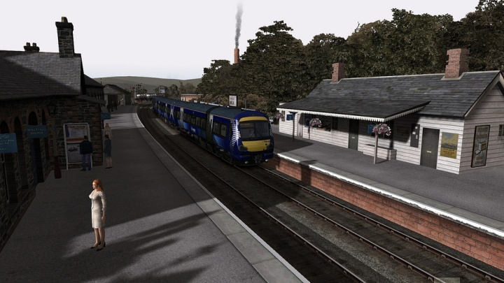 A Scotrail class 170, 170434, calls at Dalbeattie with a Kirkcudbright to Carlisle service.