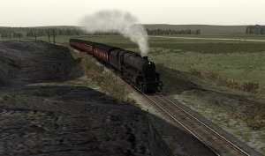 44922 reaches the summit of the 1 in 63 at  Knockishee after departing Glenluce.