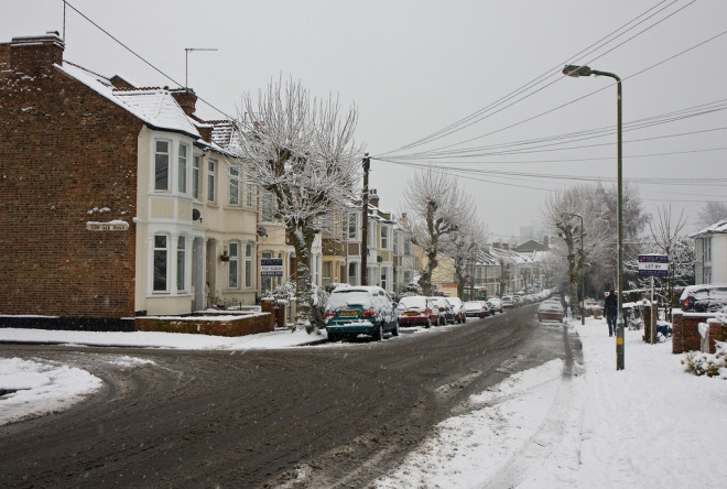 Long Lane Southbound in Snow