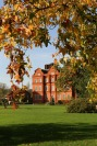 Autumn leaves and red bricks at Kew Gardens Brick