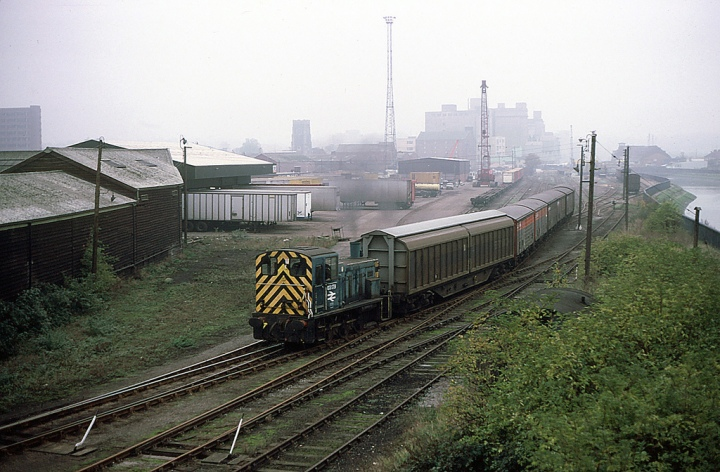A class 03 with shunters 'wasp' stripes