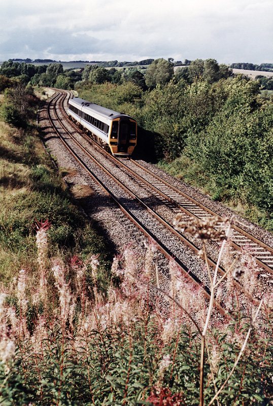 Standing on a bridge in the countryside - A Class 158 heading for Salisbury disturbs the peace at Sherrington.