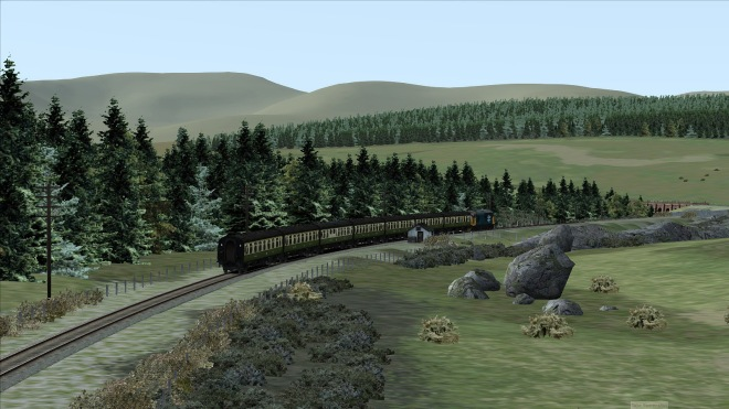 37421 descending towards Little Water of Fleet in Dumfries & Galloway (Railworks Screenshot).