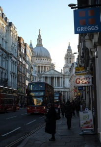 Ludgate Hill in the shadow of St.Pauls Cathedral.