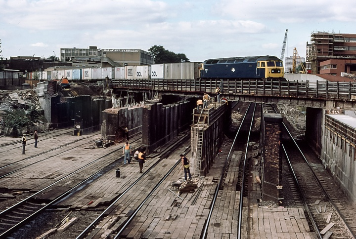 Bridge rebuilding at West Hampstead - An intermodal service on the North London Line crosses the Midland Mainline.