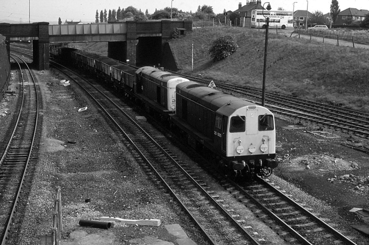 20005 + 20008 at Woodhouse (JUN80)_BW
